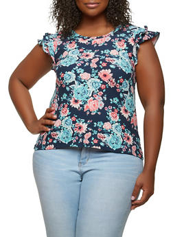 Plus Size Floral Soft Knit Top - 1912060580019