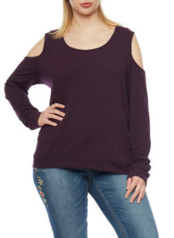 Plus Size Cold Shoulder Solid Long Sleeve Top - 1912060581250