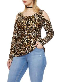 Plus Size Cold Shoulder Top with Leopard Print - 1912060581317