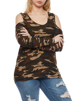 Plus Size Cold Shoulder Camo Print Top - 1912060582374
