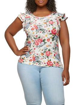 Plus Size Soft Knit Floral Top - 1912060582810