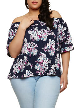 Plus Size Floral Off the Shoulder Top - 1912060583069