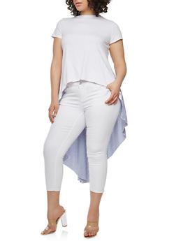 Plus Size Striped Back High Low T Shirt - 1912062120652