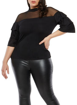 Plus Size Mesh Tiered Sleeve Top - 1912062122075