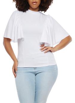 Plus Size Flutter Sleeve Top - 1912062122610