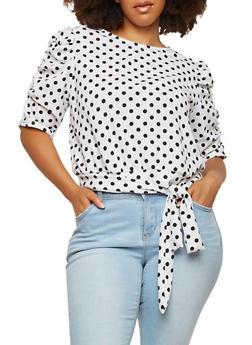 Plus Size Polka Dot Tie Front Top - WHITE - 1912062125699