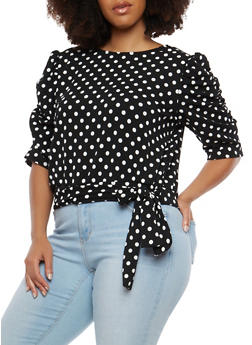 Plus Size Polka Dot Tie Front Top - 1912062125699