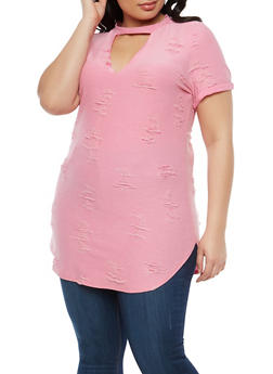 Plus Size Distressed Tunic Top - 1912062126115