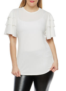 Plus Size Tiered Sleeve Top - 1912062128600
