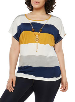 Plus Size Stripe Top with Necklace - 1912062700421