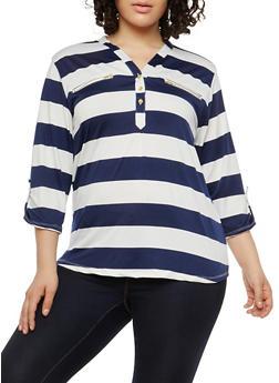 Plus Size Button V Neck Stripe Top - 1912062700535