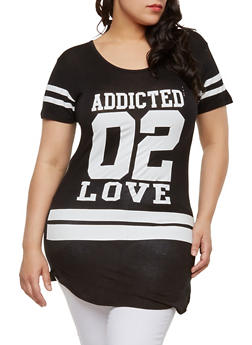 Plus Size Addicted 02 Love Graphic Top - 1912062701460