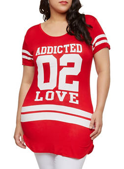 Plus Size Addicted 02 Love Graphic Top - 1912062701460