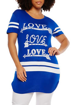 Plus Size Rhinestone Love Graphic Tunic Top - 1912062701464