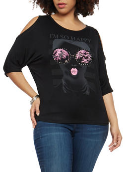 Plus Size So Happy Graphic Cold Shoulder Top - 1912062702241
