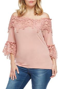 Plus Size Crochet Off the Shoulder Top - 1912062705007