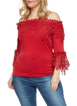Plus Size Crochet Off the Shoulder Top - 1912062705007