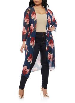 Plus Size Floral Mesh Duster - 1912062705034