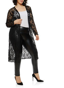 Plus Size Long Sleeve Lace Duster - 1912062705046