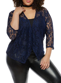 Plus Size Open Front Lace Cardigan - 1912062705115