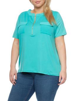 Plus Size Short Sleeve Mandarin Zip Top - 1912062705338