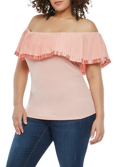 Plus Size Pleated Off the Shoulder Top - 1912062705406