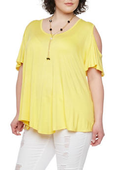 Plus Size Cold Shoulder Swing Top with Necklace - 1912062705457
