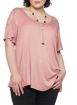 Plus Size Cold Shoulder Swing Top with Necklace - BLUSH - 1912062705457