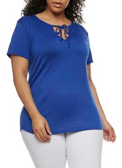 Plus Size Tie Front Keyhole T Shirt - 1912062705475