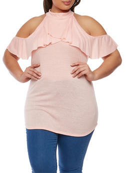 Plus Size Ruffled Cold Shoulder Top - 1912062705843