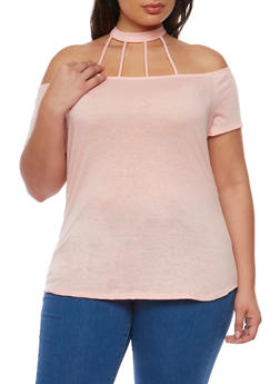 Plus Size Cold Shoulder Top with Lattice Choker - 1912062705844