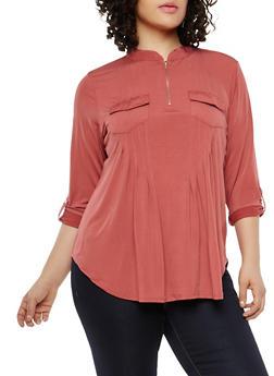 Plus Size Zip Neck Top - 1912062706407