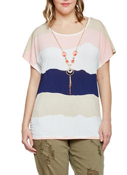 Plus Size Block Striped Short Sleeve Top with Necklace - 1912062706421