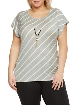 Plus Size Striped Short Sleeve Top with Necklace - 1912062706422
