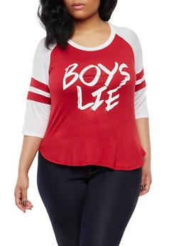 Plus Size Boys Lie Graphic Baseball T Shirt - 1912062706533