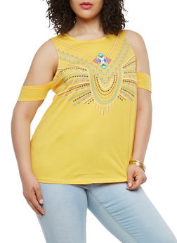 Plus Size Textured Graphic Cold Shoulder Top - 1912062900028