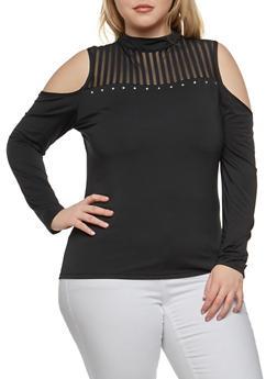 Plus Size Studded Cold Shoulder Top - BLACK - 1912062908627