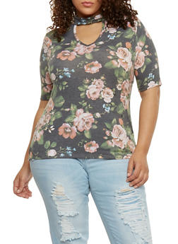 Plus Size High Low Floral Top with Keyhole - 1912063400607