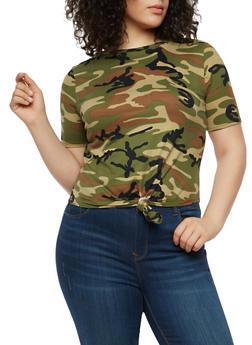 Plus Size Camo Knot Front T Shirt - 1912063400657