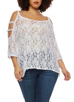 Plus Size Lace Cold Shoulder Top - 1912063400675