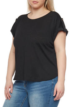 Plus Size Waffle Knit Tab Sleeve Top - 1912069390636