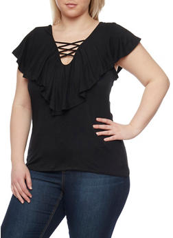 Plus Size Lace Up Top with Ruffle Overlay - BLACK - 1912069397611