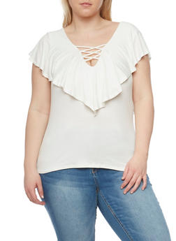 Plus Size Lace Up Top with Ruffle Overlay - IVORY - 1912069397611