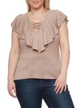 Plus Size Lace Up Top with Ruffle Overlay - TAN - 1912069397611