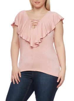 Plus Size Lace Up Top with Ruffle Overlay - 1912069397611