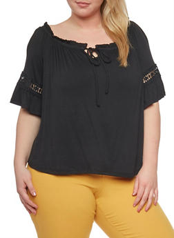 Plus Size Off the Shoulder Keyhole Top with Crochet Trim - 1912069397707