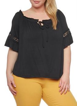 Plus Size Off the Shoulder Keyhole Top with Crochet Trim - 1912069397707