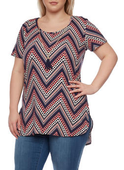 Plus Size Printed Tee with High Low Hem and Necklace - 1912072240002