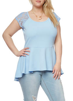 Plus Size Gauze Knit Peplum Top with Lace Cap Sleeve Detail - 1912072240013