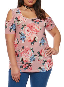 Plus Size Floral Print Cold Shoulder Top with Choker - 1912072240033